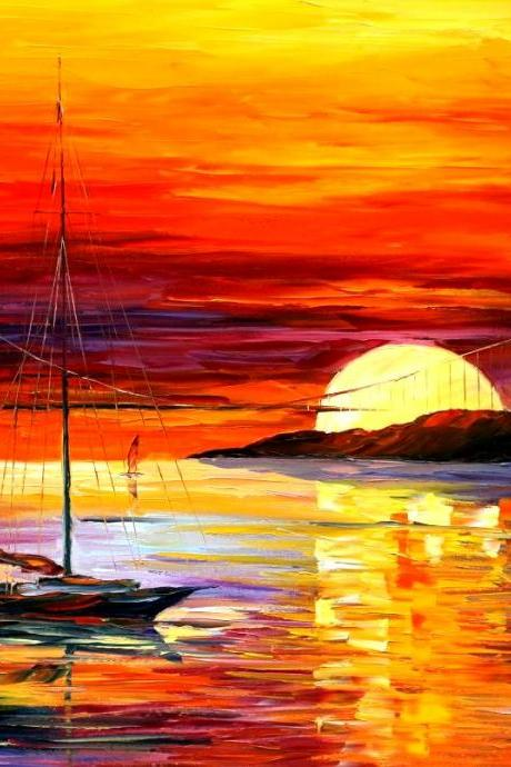 GOLDEN GATE BRIDGE BY THE SUNSET — Print On Canvas By Leonid Afremov - Size 30' x 36' (75cm x 90cm)